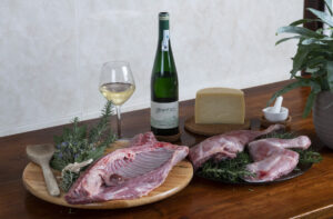 Carne de cordero lechal Latxa con queso Idiazabal y Txakolí Gaintza